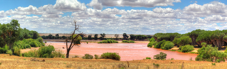 Safari im Tsavo East National Park - Panorama Sabaki River